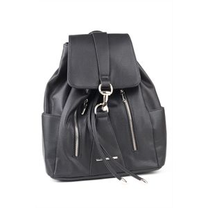 Funky backpack by DIANA FERRARI with silver zips, back straps and bridle clasp. For all your bits and pieces it has aninternal zip pocket, large phone pouches,three externalpockets - 2 front and 1 back. The back straps are adjustable and there is an easy pull tab closure. It's a fun young style.