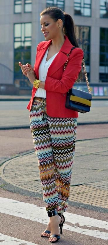 Aztec Print And Blazer Preppy.
