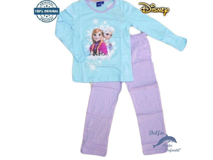 Pijama FROZEN algodón azul estampación efecto brillante