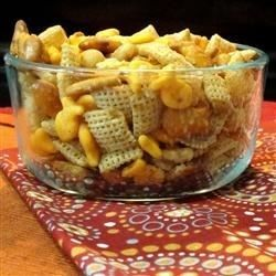 Garlic powder and Worcestershire sauce flavor this common holiday snack mix.