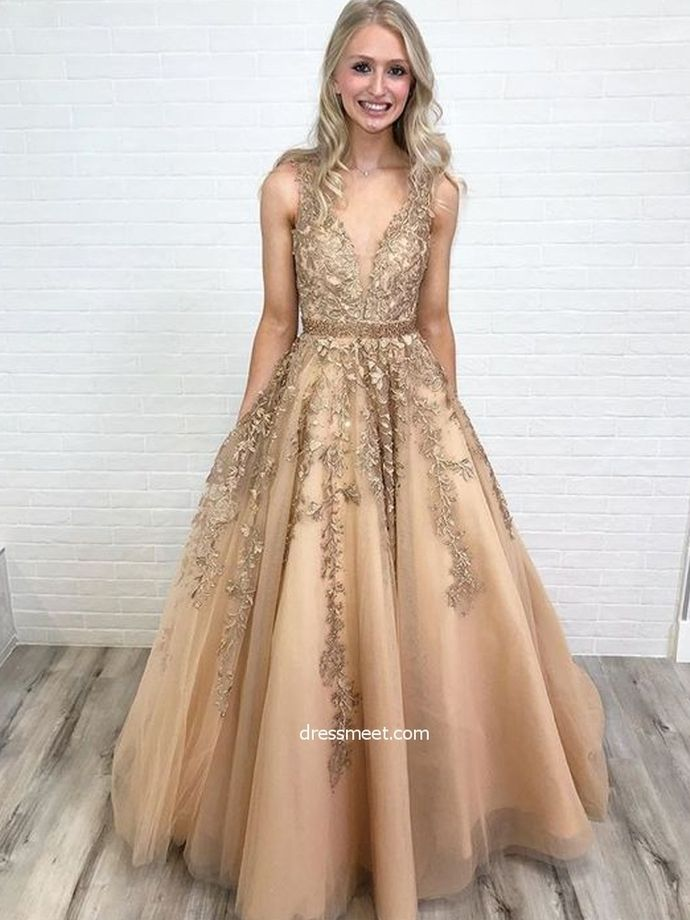 99cf94645d Gorgeous Ball Gown V Neck Open Back Gold Lace Long Prom Dresses with Beading