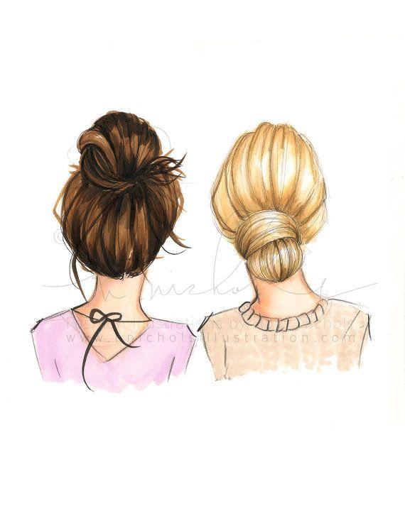 BunDay (several hair color options, please read the description carefully, fashion illustration printing) – Malen & Zeichnen