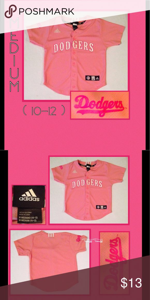 Pink Dodgers Jersey In great condition, one Adidas, kids size Medium, pink Dodgers Baseball Jersey. 1-3 FREE items of corresponding size will be included upon purchase. 🙃☮️ adidas Shirts & Tops Button Down Shirts