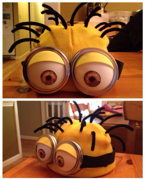 DIY Minion Costume--two ping pong balls, ball canning jar lids, fun foam or similar material--easier than you think.  AND CUTE!!