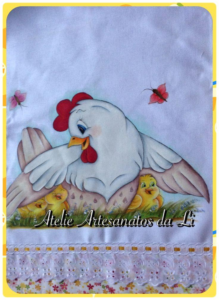 Pano de prato galinha com pintinhos