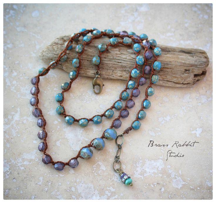 "4x wrap bracelet / crochet necklace, convertable, ""In Your Dreams"" | Brass…"