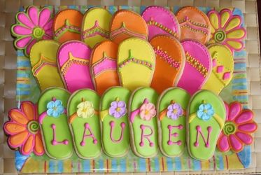 Flip Flop Cookies - Love these for summertime entertaining... I must make these on sticks for the kids!