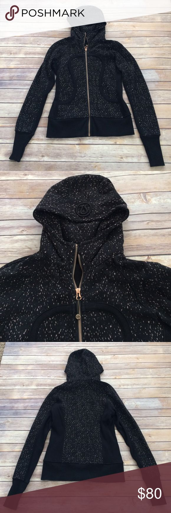 Lululemon rose gold hoodie Gorgeous Lululemon rose gold and black Scuba hoodie in EUC. Only worn a handful of times and never machine dried. Like new! lululemon athletica Jackets & Coats