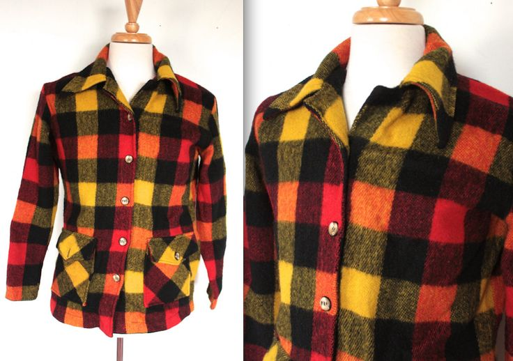 Vintage 1960s Jacket // 60s Men's Red Yellow and Black Tartan Plaid Wool Hunting Jacket // Workwear Flannel Shirt by TrueValueVintage on Etsy