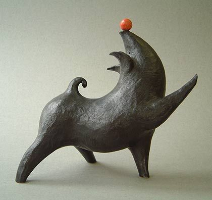 Whimsical sculpture by British ceramic sculptor Paul Smith. via studio pottery UK    I love this!