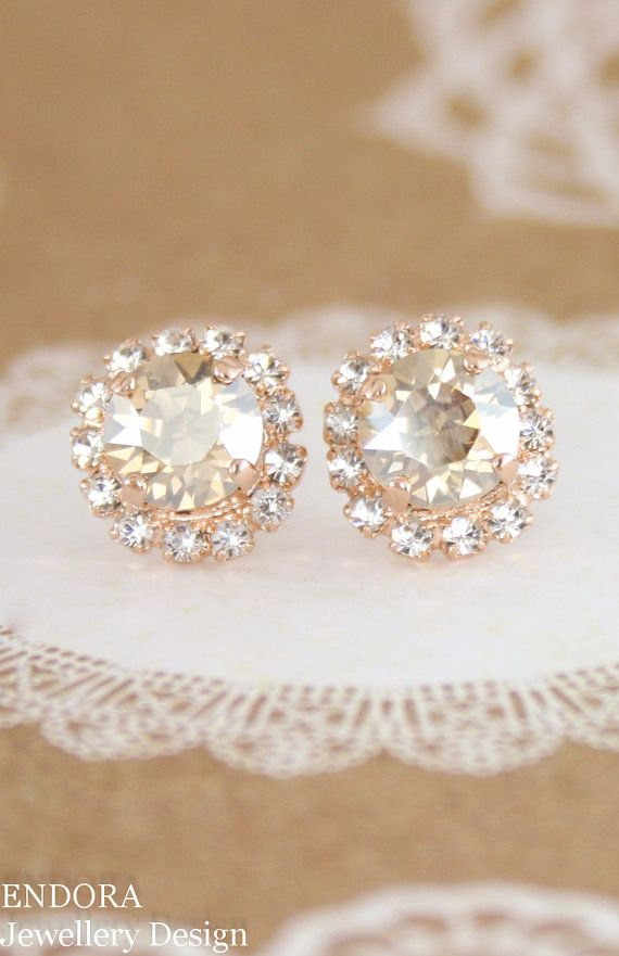 Champagne crystal earrings | champagne wedding | rose gold bridal earrings | gold wedding | bridal earrings | bridesmaid earrings | www.endorajewellery.etsy.com