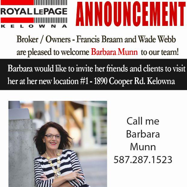 Welcome to the team Barbara   Royal LePage Kelowna Real Estate