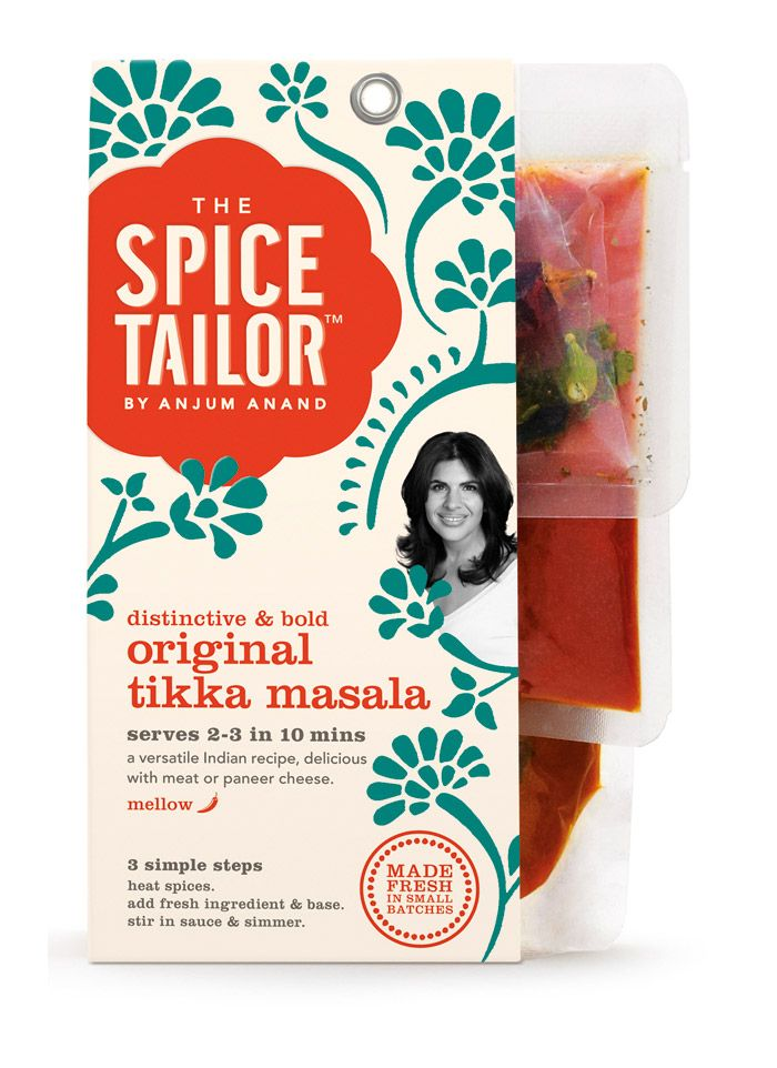 Fresh Indian food packaging by pearl fisher for an amazing British Indian chef, Anjum Anand.