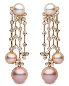 Yoko London pearl and diamond chandelier earrings Lines of bezel-set round diamonds lead to the pink freshwater pearls that dangle from these chandelier-style earrings, each with a white South Sea pearl at the top. 18k rose gold 10-14mm South Sea and freshwater pearls 3.55 cts. t.w. diamonds