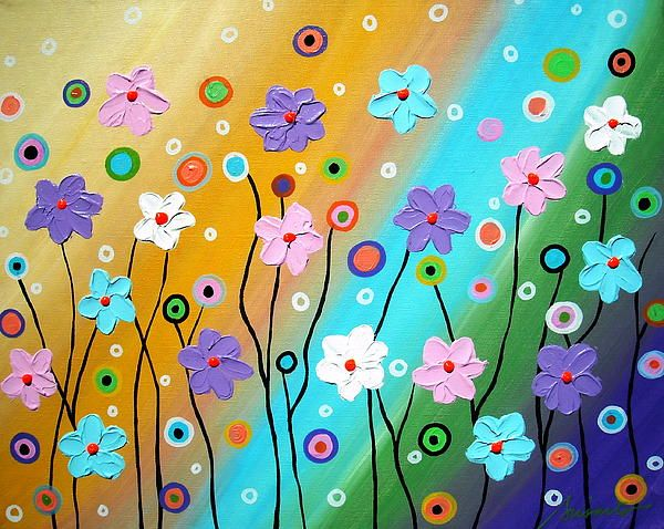 Floral Fest Painting Whimsical Painting by Prisarts.Check out new original paintings for sale and auction on Ebay, search for PRISARTS