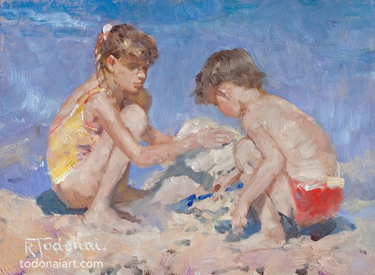 Quick study - kids on a beach. #Art #oil painting #painting #beach painting #sketch #kids #children