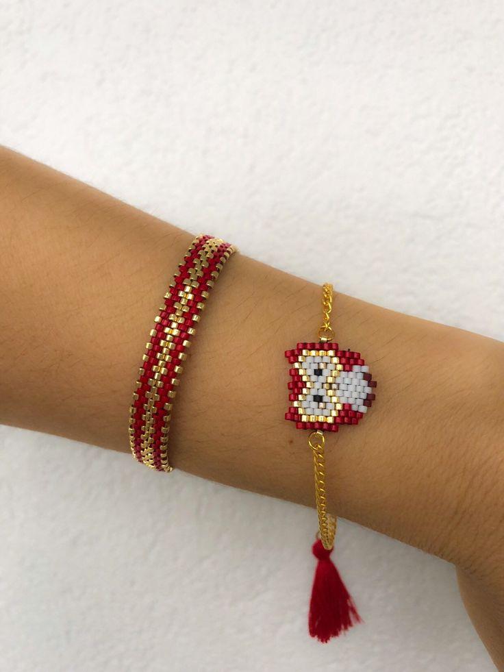 Miyuki Perlen rote Eule Armband Set, einzigartig, stilvoll, Tier Armband, Armband entworfen, schickes Armband für Frauen, Geschenk für Mädchen