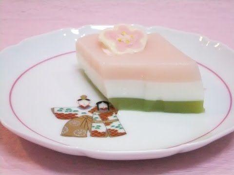 ♪【簡単レシピ】コンビニで売ってる乳飲料で ひな祭り・ひし餅ゼリー