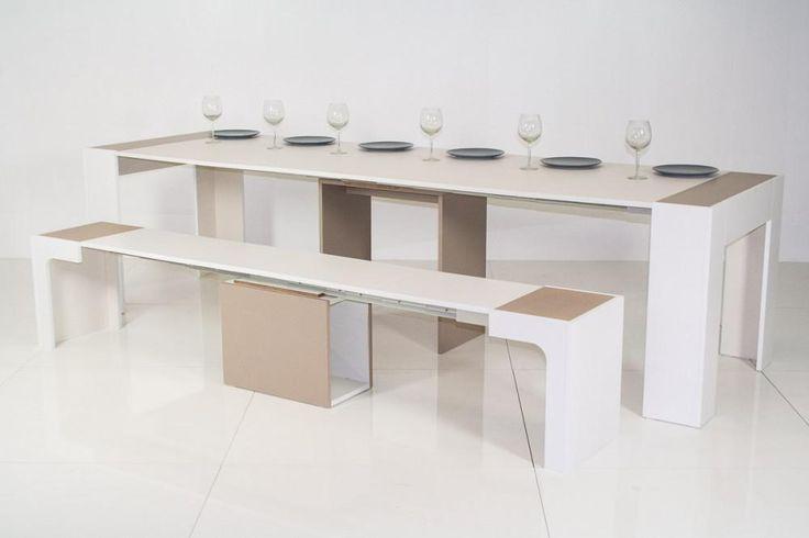 console aperta trasformata in tavolo da pranzo con panca abbinata