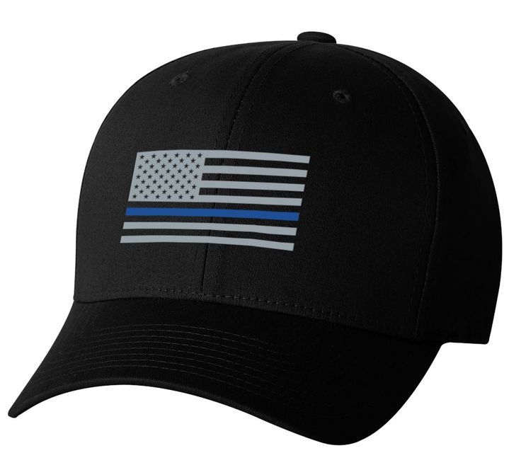 Embroidered Flexfit USA Flag - Support POLICE Low Profile Cap