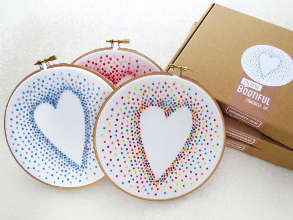 Heart Embroidery Kits, Special Offer, Needlework Kit, Christmas Present For Crafter, Xmas Gifts for Her, Hoop Art Set, Stocking Filler