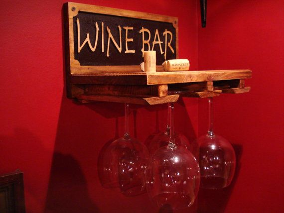 """Wine Rack made from rustic reclaimed materials perfect for home bar decor or man cave. hold 4 red wine glasses 13""""w x 8""""h x 9"""" deep on Etsy, $59.99"""