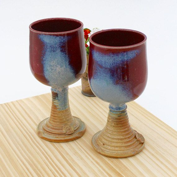Set of Two Red and Blue Wine Glasses 17 Ceramic Long Stem