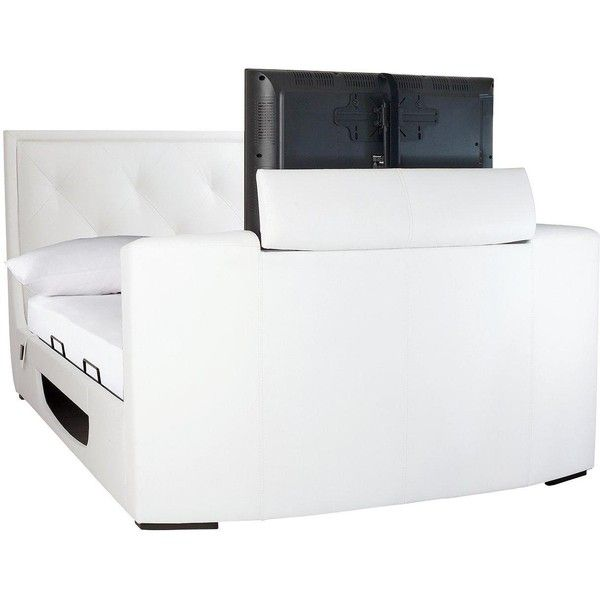 Estates Faux Leather Lift-Up Storage Tv Bed Frame With Mattress... ($1,745) ❤ liked on Polyvore featuring home, furniture, beds, white king size headboard, black king size bed, black king headboard, white king headboard and white king size bed