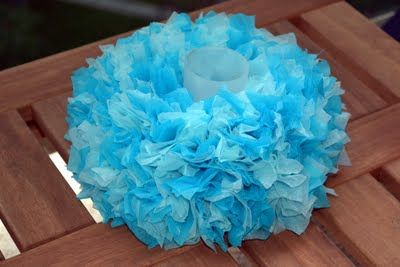 tissue paper mini wreath centerpiece  don't know if I would use with a candle but it is cute
