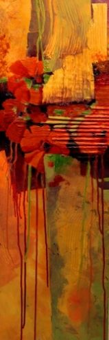 Tropical Tapestry , mixed media floral abstract Carol Nelson Fine Art, painting by artist Carol Nelson