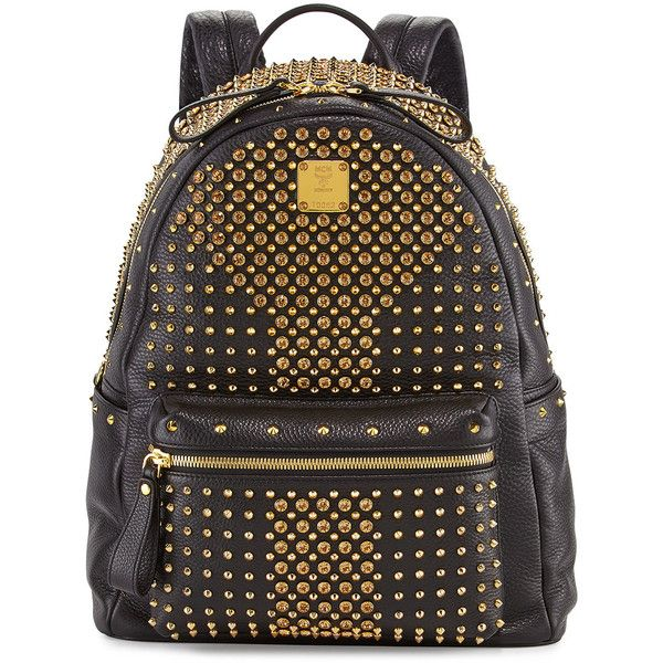 MCM Stark Special Crystal-Studded Backpack ($2,135) ❤ liked on Polyvore featuring bags, backpacks, mcm, black, top handle bags, laptop bags, rucksack bags, spike backpack and laptop backpack
