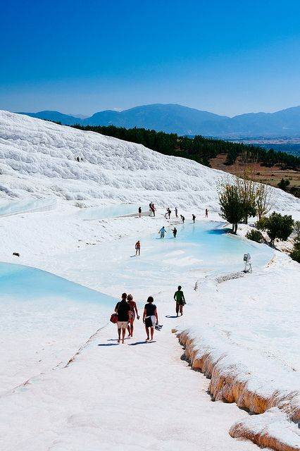 """Pamukkale - """"Cotton castle"""" in Turkish, this is the hot water of the neither hot nor cold in Rev."""