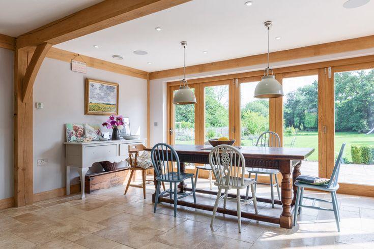 Dining room ideas from Welsh Oak Frame #diningroom #oakframe #oakbeams #diningroomideas
