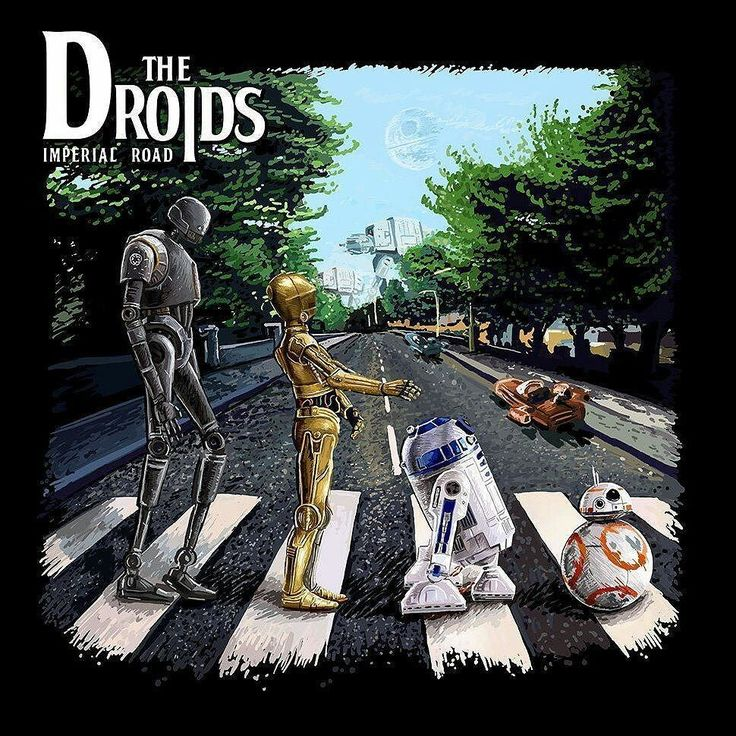 The Droids- Imperial Road #droids #starwars #bb8 #r2d2 #c3po #k2so #abbeyroad #thebeatles