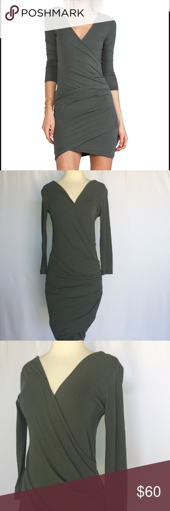 "James Perse Skinny Wrap Tuck Dress Forest Green Gently used condition James Perse Skinny Wrap Tuck Dress Forest Green size 3 (large)- please see measurement guide in photos. Approximate length 39"", sleeve length 19"". James Perse Dresses Long Sleeve"