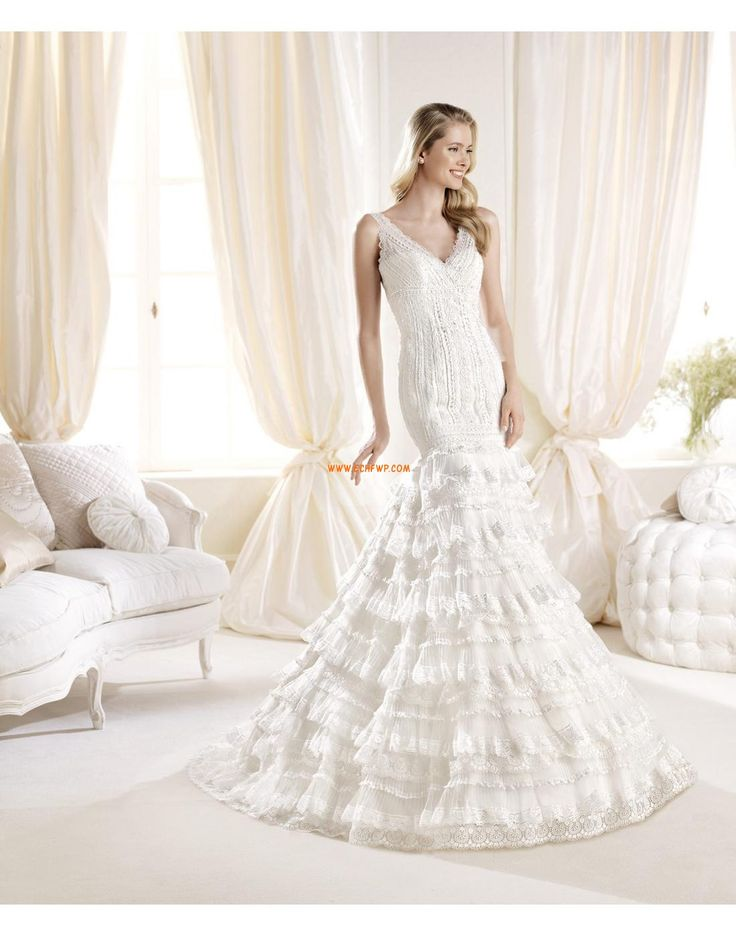 Jardin / Extérieur Col en V Poire Robes de mariée de luxe