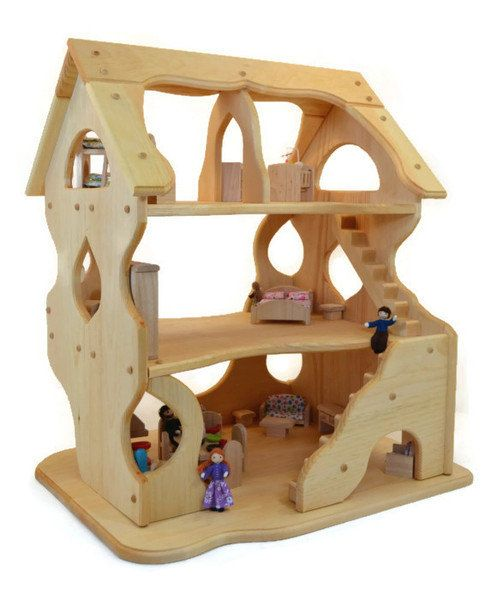 Wooden Dollhouse - Toy Dollhouse - Play Dollhouse - Handcrafted Natural Wooden Toy Dollhouse-Hannah's Dollhouse-Waldorf Dollhouse-Montessori