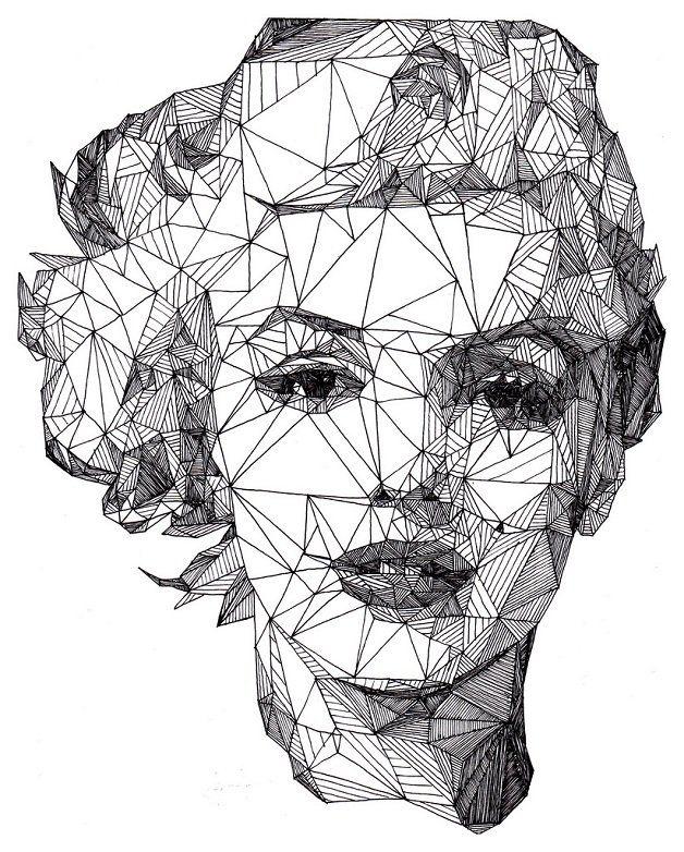Josh Bryan, artista inglês de apenas 20 anos surpreende: cria retratos de personalidades detalhados explorando todas as formas e tamanhos de um simples desenho geométrico: o triângulo.
