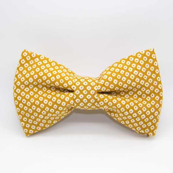 Yellow bowtie in japanese fabric / wedding accessories / handmade
