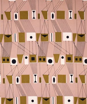 Rig furnishing fabric, by Lucienne Day (b.1917) for Heals Ltd. Screen printed linen. London, England, 1953. V Prints