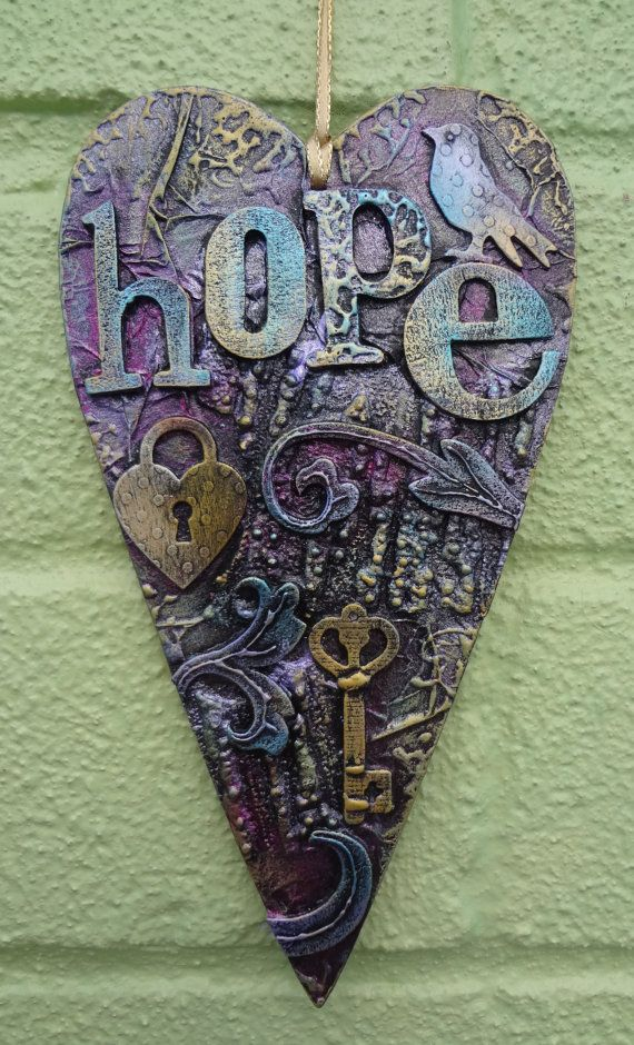 Mixed media heart hanger hope by LindsayMasondesigns on Etsy