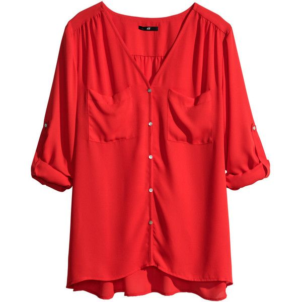 H&M V-neck blouse ($22) ❤ liked on Polyvore featuring tops, blouses, shirts, h&m, red, button blouse, h&m shirts, v neck blouse, long sleeve red blouse and long sleeve shirts