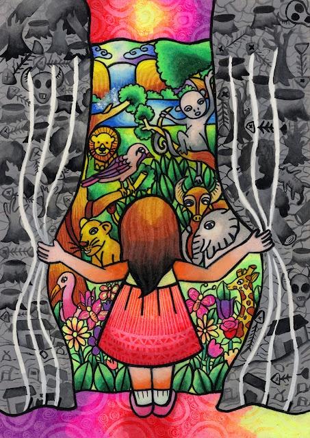 Este es el dibujo ganador, elegido entre más de 600.000 de 99 países, en la vigésima convocatoria del Concurso Internacional de Pintura Infantil sobre Medio Ambiente.