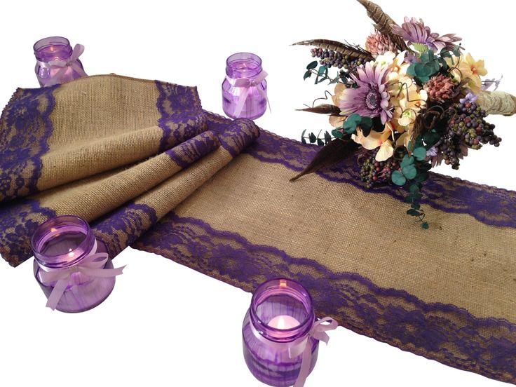 """Burlap and DARK PURPLE Lace Table Runner - Rustic Wedding Table Runner - 12"""" Width; Lace on Edges - Country Home Decor, Farmhouse Decor by DawnWeddingDesigns on Etsy https://www.etsy.com/listing/256818213/burlap-and-dark-purple-lace-table-runner"""