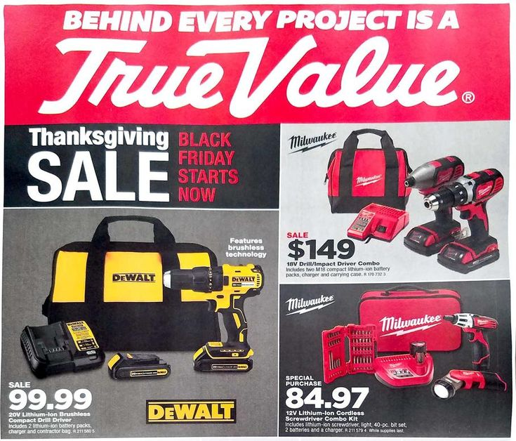True Value Black Friday 2017 Ad Scan Deals and Sales #coupons  The second ad-leak of the year is here! True Values 8-page Black Friday 2017 ad is full of useful tools and hardware for low prices and these sales begin November 15th and end November 26th. This ad is very similar to last years ad so if you missed something then you can always snag it this holiday season.  DeWalt 20V Lithium-Ion Brushless Compact Drill Driver  $99.99  Buy Now  Milwaukee 18V Drill/Impact Driver Combo  $149.00…