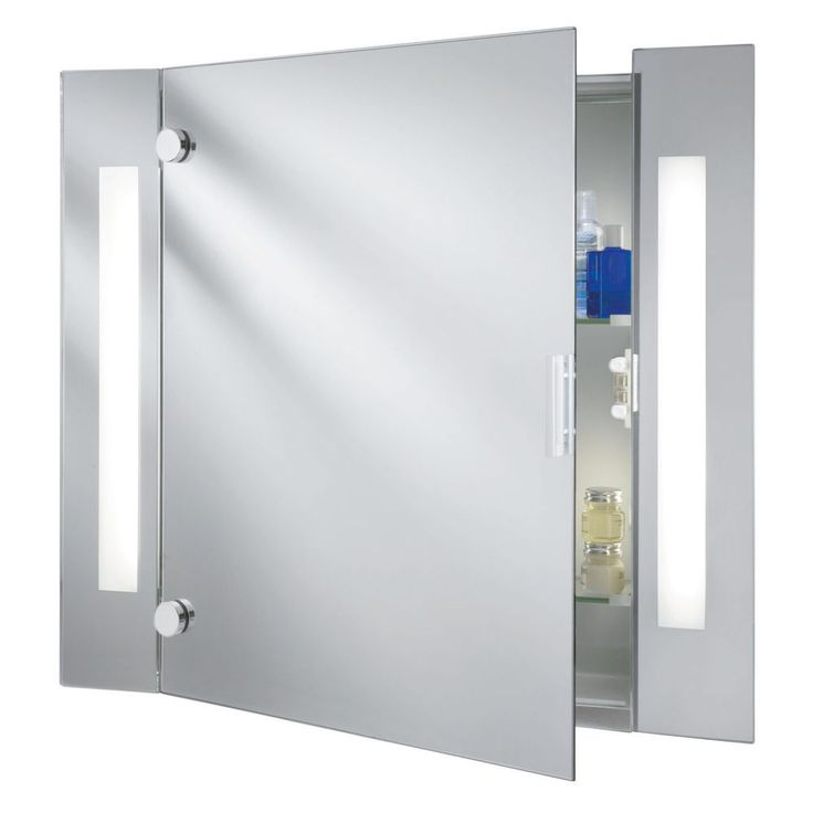 New Searchlight IP Illuminated Bathroom Mirror Cabinet With Shaver Socket