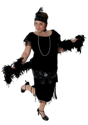 You'll be dapper and elegant when you wear this vintage inspired Black Plus Size Flapper. This comes in plus sizes!