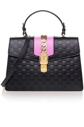 d9dc662b838 Gucci Sylvie Gg Guccissima Crossbody Pink Chain Black Leather Shoulder Bag