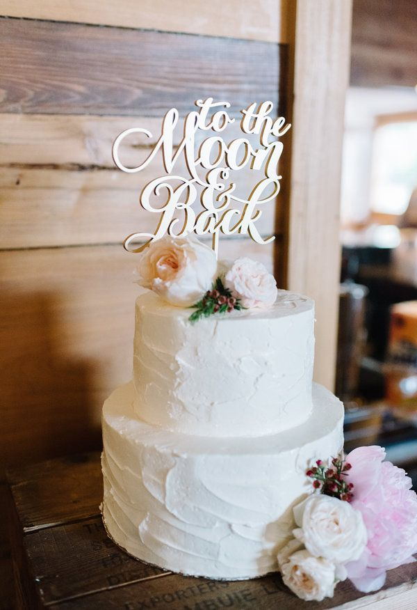 """""""To the Moon and Back"""" gold cake topper, cream frosting, pastel florals // Becky Williamson Photography"""