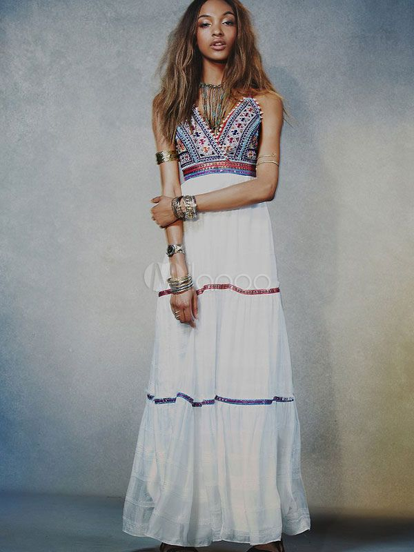 Bohemian Dress Strappy V-neck Sleeveless Beading Maxi Dress